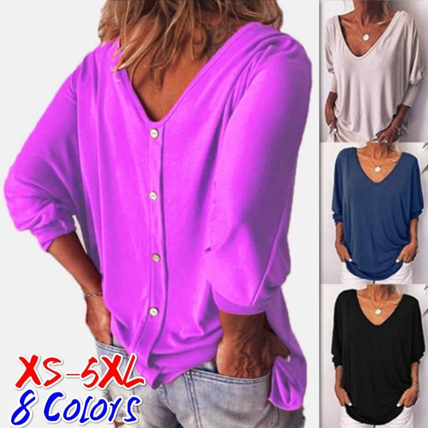 Women's Fashion Long Sleeved Shirts Solid Color Plus Size Tops Casual V Neck Blouses Plus Size XS-5XL