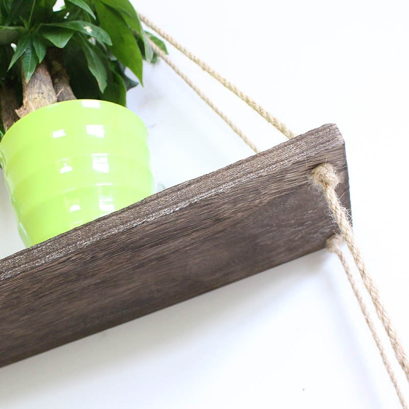Hanging Wall Shelf - Wood Swing Storage Shelves - Jute Rope Organizer Rack - Home Decor Bookshelf - Wall Plant Shelves - Decorative Farmhouse Bookshelves