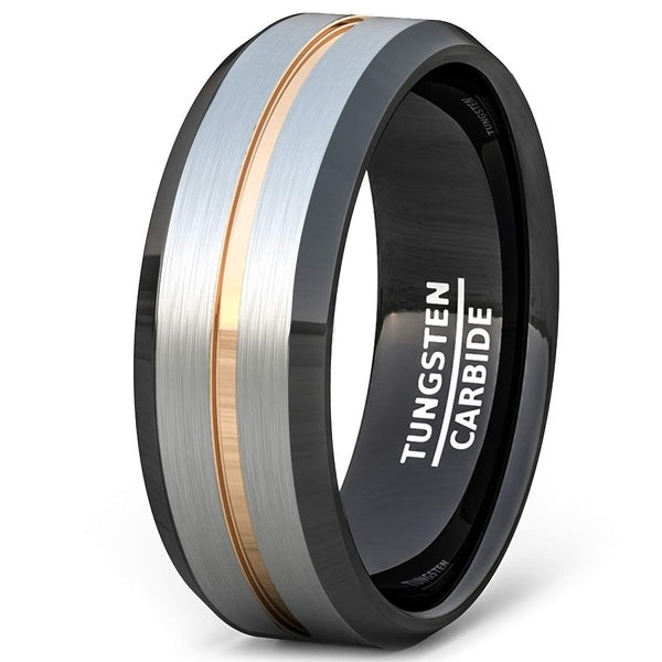 8MM Tungsten Carbide Ring Rose Gold Groove Tri Color Men's Wedding Band Beveled Edge Comfort Fit