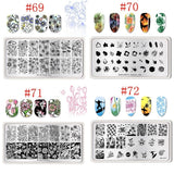 76 Patterns BORN PRETTY 12*6cm Rectangle Nail Stamping Template Summer Series Flowers Geometry Cartoon Design Nail Art Image Plate