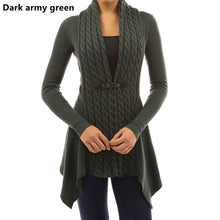 Load image into Gallery viewer, Fashion Women Buckle Braid Front Cardigan Knitwear Warm Sweaters Autumn Long Sleeve Casual Slim Outwear