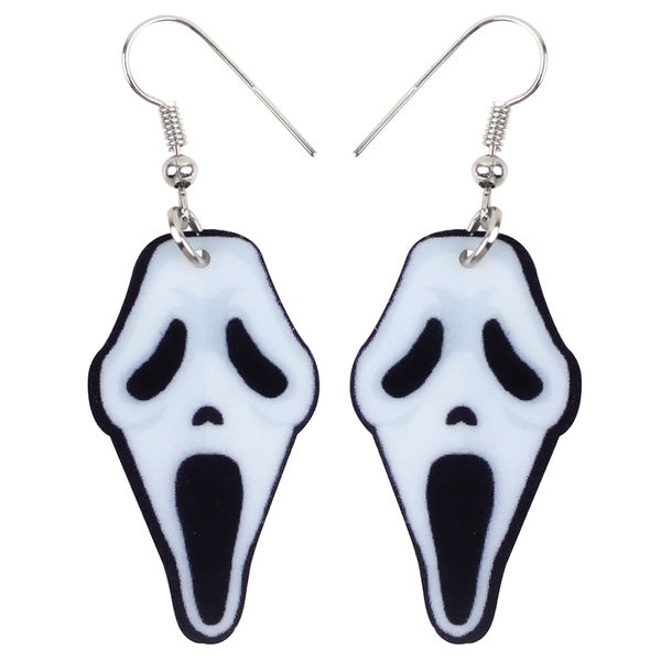 Acrylic Halloween White Howling Ghost Earrings Dangle Drop Fashion Jewelry For Women Girls Teens Kid Gifts