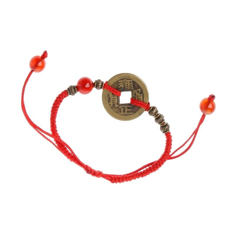 Feng Shui I Ching Ancient Coin Kabbalah Red String Attarct Luck Wealth Bracelets ASD