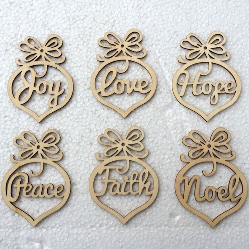 Christmas Tree Wood Hanging Hollow Letters Wood Pendant Ornaments Xmas Tree Decorations