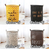 Foldable Storage Bag Basket Bin Box Toy Clothes Round Canvas Linen Draw String Basket Clothes Laundry Toy Closet Stuff Bedroom Bathroom