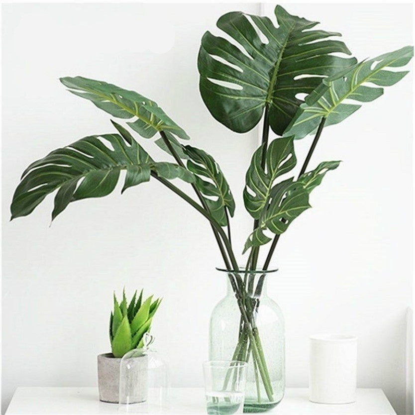 3/5/10PCS Artificial Monstera Palm Leaves Branch Faux Foliage Leaf Wedding Birthday Party Supply Home Deco DIY