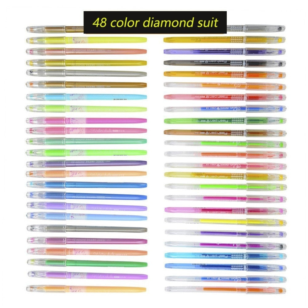 12PCS/24PCS/36PCS Colors Gel Ink Pen Diamond Tip Pastel Glitter Perfect Sketch Drawing Copic Markers Marker Manga Aquarela Coloring Pens
