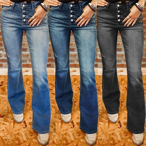 Women Fashion High Waist Denim Pants Casual Loose Wild Jeans Ladies Simple Long Trousers S-3XL 4 Colors