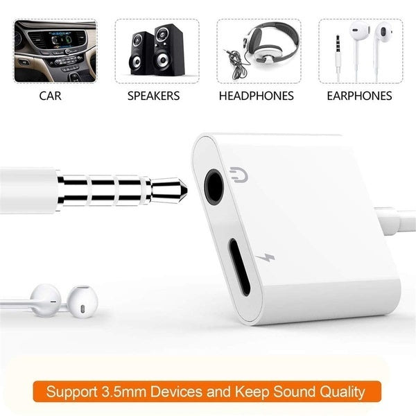 Stylish Headphone Jack Converter Dongle for iPhone 8 / X / XS MAX / XR / 8Plus / 7/7 Plus Adapter to 3.5mm Jack Converter Car Charging Accessories Cable and Audio Connector 2 in 1 Headphone Splitter Adapter White