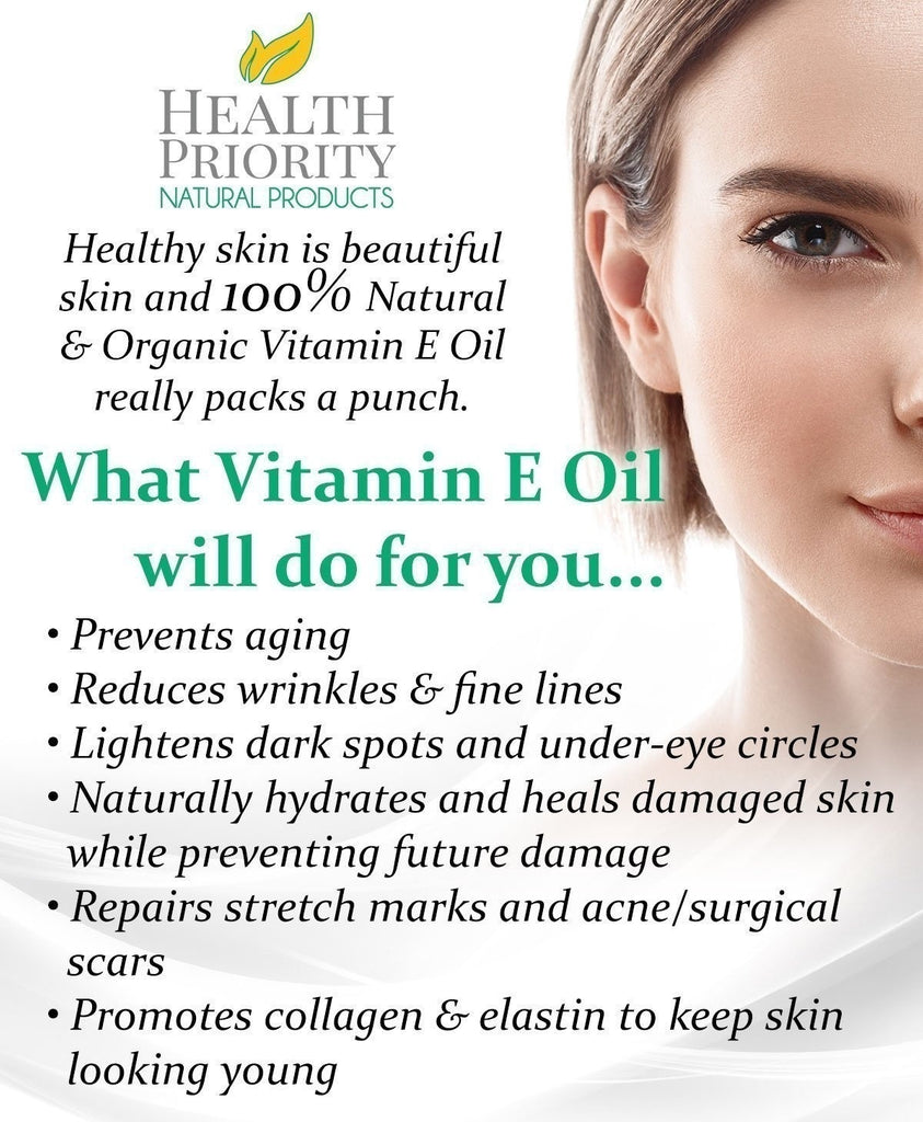 100% All Natural & Organic Vitamin E Oil For Your Face & Skin -- Reduces Wrinkles, Lightens Dark Spots, Heals Stretch Marks & Surgical Scars. Best Treatment for Hair, Nails, Lips Sample