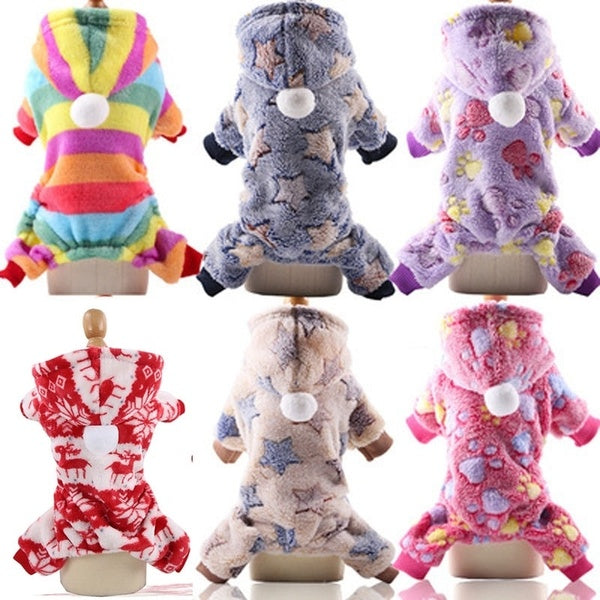 NewDog Clothes Buttons Four Feet Flannel Dog Coat Pet Clothes Cat Clothes dog costumes Warm Winter Clothes Pet Supplies