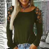 Women Spring Autumn Casual Cut-out Grid Long Sleeve T Shirts Ladies Solid Color Cold Shoulder Rhinestone Tops Plus Size