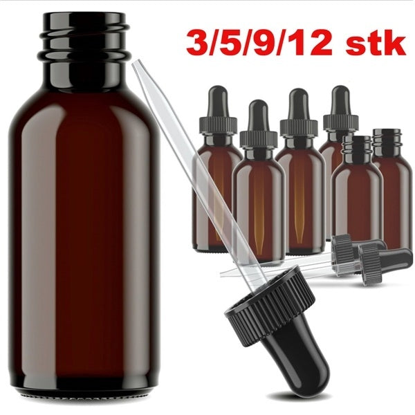 12/9/5/3 pcs Brown Refillable Empty Amber Bottle With Dropper And Cap DIY Blends Supplies Tool Accessories Essential Oil Perfume Aromatherapy Carrier