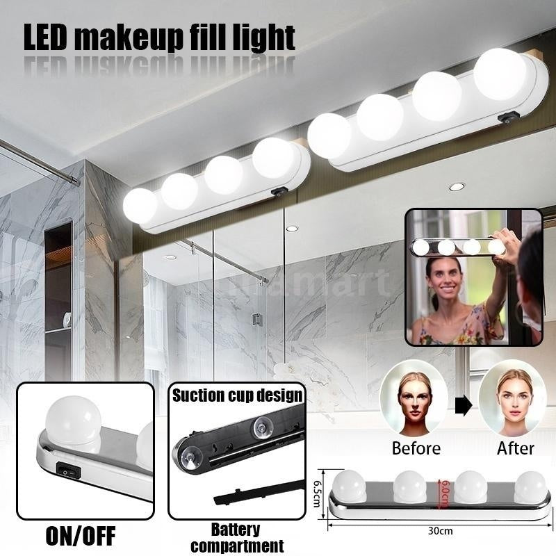 LED Vanity Mirror Lights Make Up Light Super Bright 4 LED Bulbs Portable Cosmetic Mirror Light Kit Battery Powered