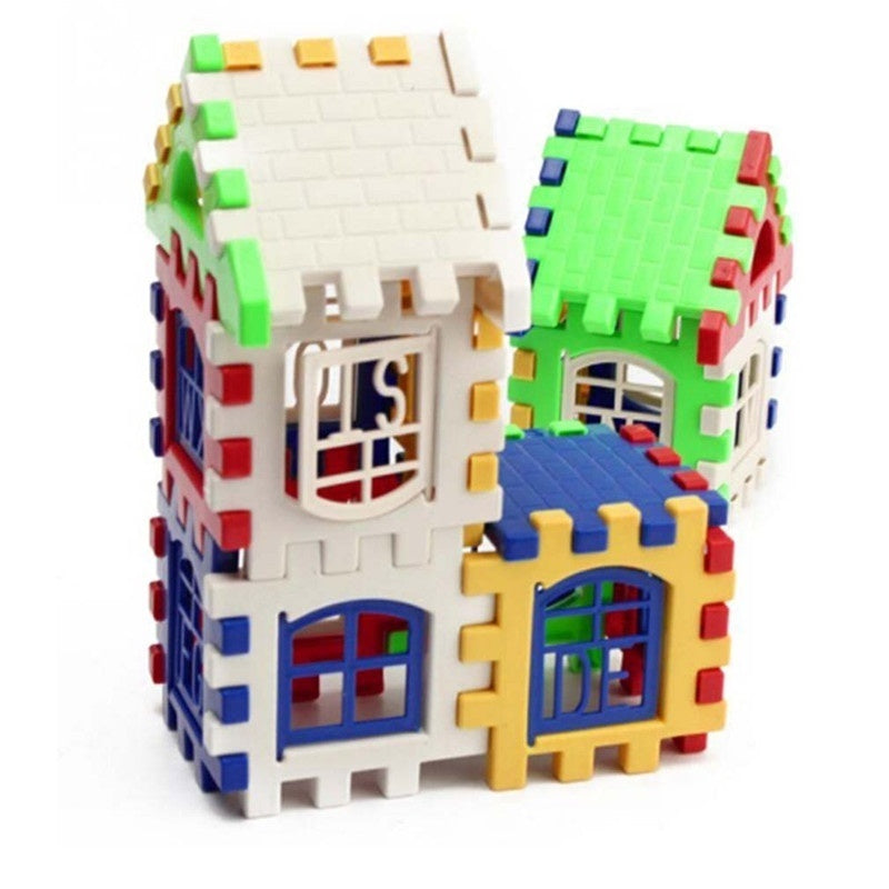 Colorful 24 PCS/bag Child Puzzle Enlightenment Box Plastic Building Blocks House Group Assembly Kindergarten Early Education Toy