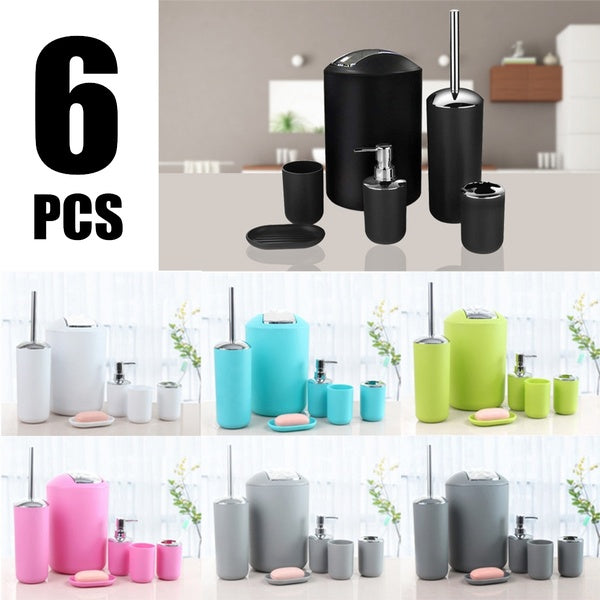 6Pcs Bathroom Accessory Set Waste Bin Soap Dish Sanitizer Dispenser Toilet Brush Toothbrush Holder Tumbler Cup