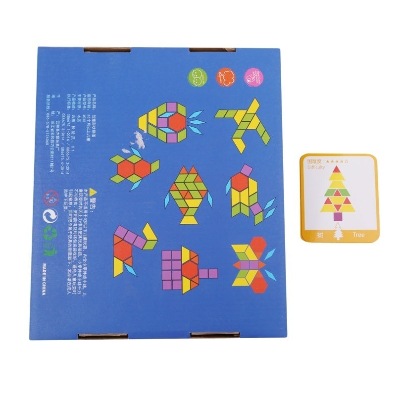 155PCS Creative Shape DIY Wooden Puzzles Montessori Learning Toys