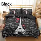 Paris Tower Printed 2/3Pcs Cotton Duvet Cover and Pillow Case Bedding Sets EU/US/AU Single Twin Full Queen King Size