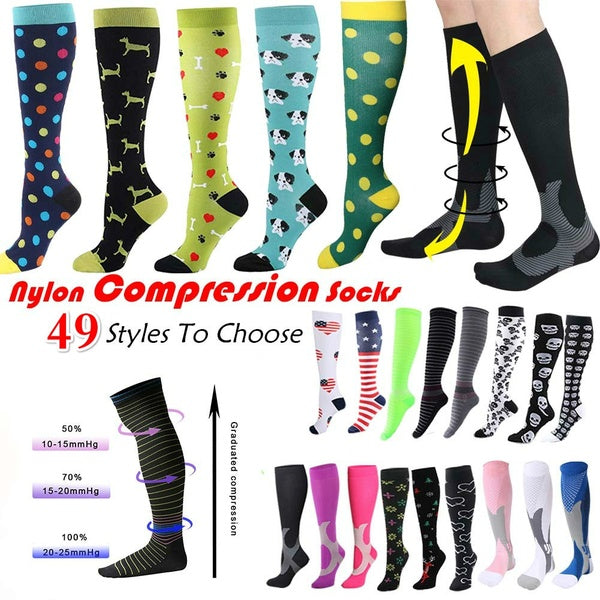 49 Styles To Choose 1pair Running Men Women Socks Sports Compression Happy Tube Socks Support Nylon Unisex Outdoor Racing Long Pressure Stockings High