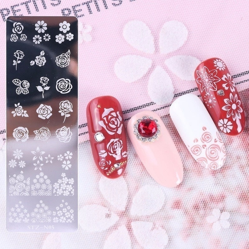 1pcs Nail art printing long steel plate flower snowflake ripple pattern butterfly DIY Nail Designs Manicure Image Plate Stencil