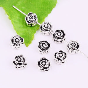 30pcs Tibetan silver Loose Spacer Beads Double-sided Rose Flower DIY Jewelry Findings 7x4mm