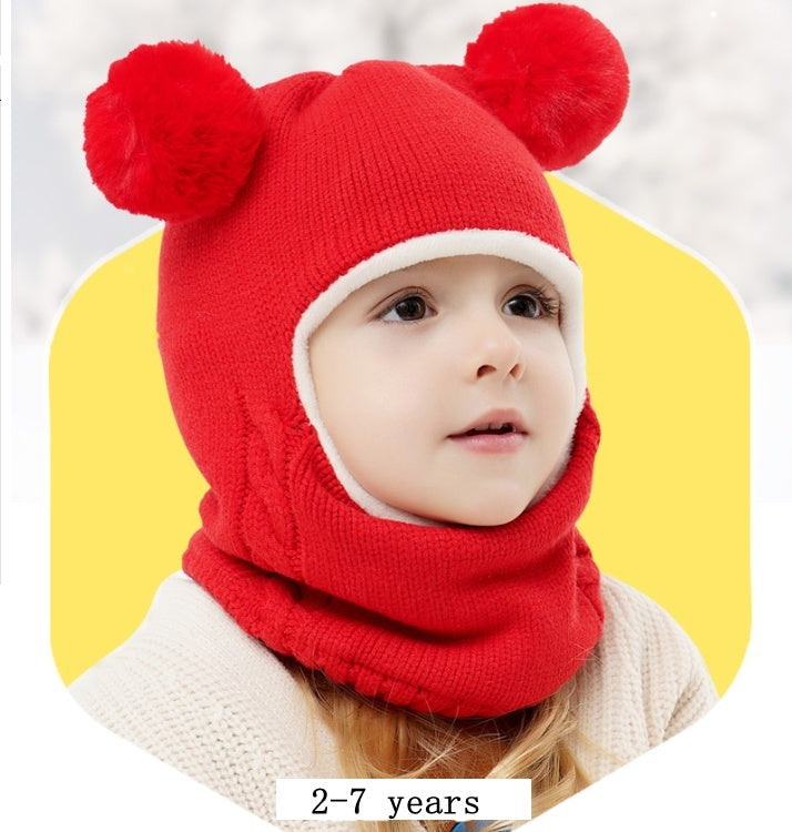 Kid Baby Boy Girl Hooded scarf Caps Hat Winter Warm Knitted Hair Ball Flap Cap Scarf