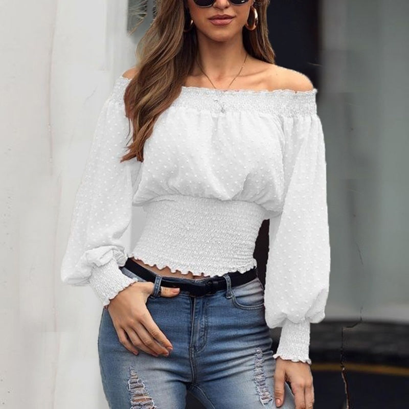Women Casual Ruffle Shrink Waist Lace Shirts Ladies Solid Color Long Sleeve Off Shoulder Chiffon Blouse Plus Size Tops XS-5XL