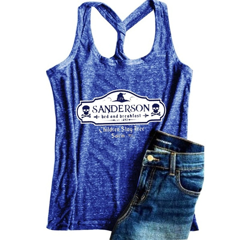 New Women Fashion Sleeveless Letter Print Halloween T-shirt Plus Size Tank Tops