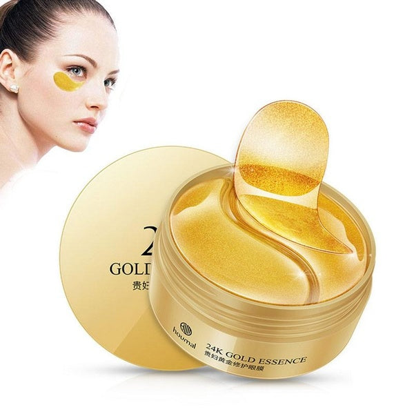 Lovef? 24K Gold Eye Treatment Masks Under Eye Patches Anti-Aging Eye Pads with Collagen & Hyaluronic Acid for Reduce Dark Circles Puffiness Eye Bags Wrinkles