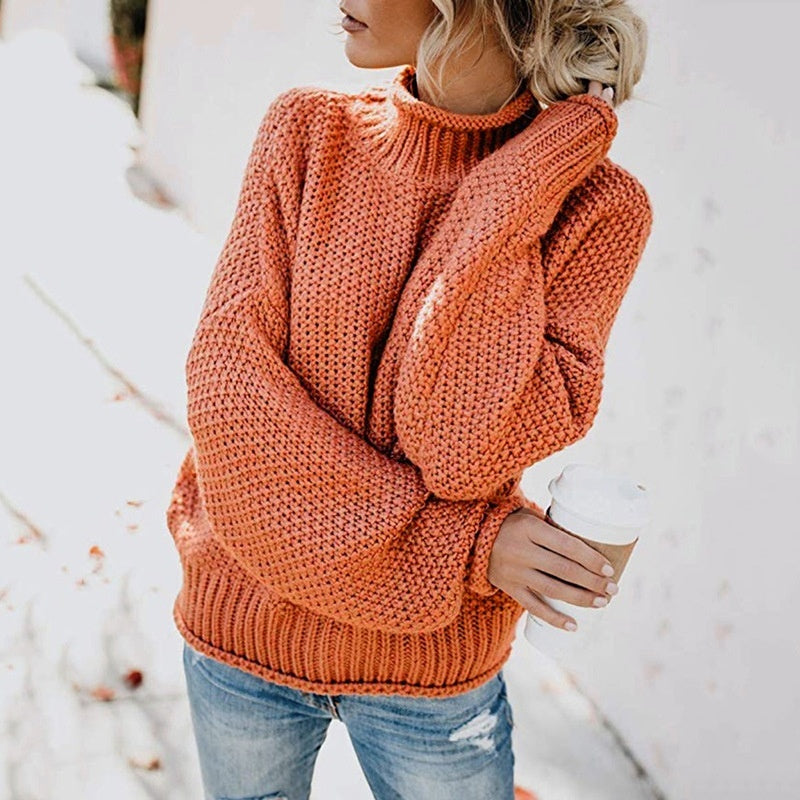 Womens Sweaters Long Sleeved Tops Casual Loose Turtlenecks Women High Neck Tops Solid Color Sweaters  Pullover Tops