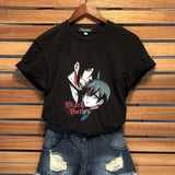 Women Fashion Short Sleeve Graphic T-Shirt Japanese Anime Sebastian And Ciel Cool T Shirt Tops