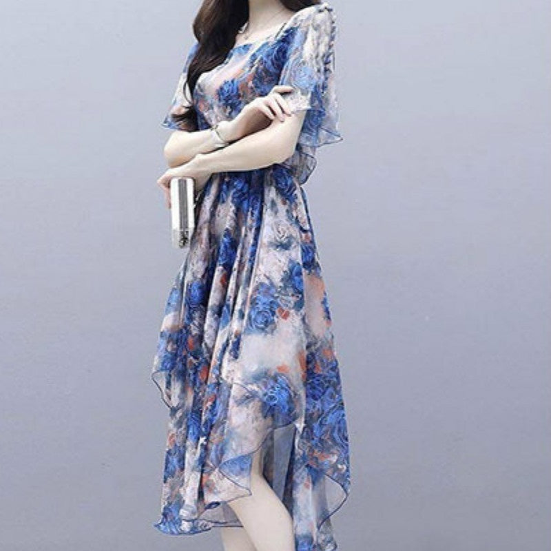 Dress Female Summer New V-neck Long Section Was Thin and Light Large Size Dress