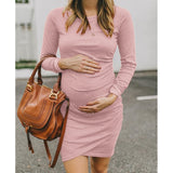 2019 Newest Maternity Pregnancy Fashion Mom Loose Pure Color  Dress O Neck Plus Size New Maternity Women Fashion  Tight Comfortabl