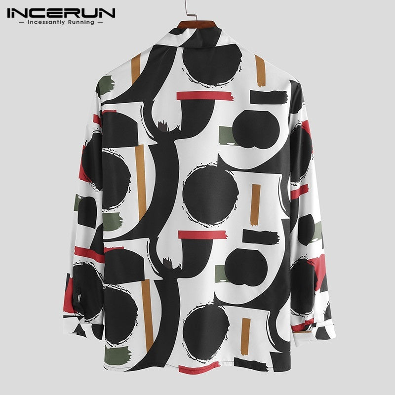 Black Color S-5XL Men's Elegant Vintage Vintage Print Long Sleeve Top Hawaiian Shirts Hippy Shirt