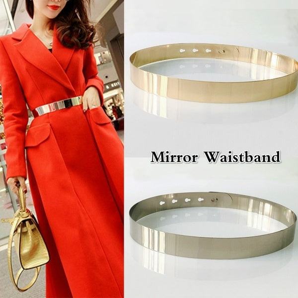 Fashion Women Mirror Waistband Adjustable Metal Waist Belt Gold Silver Color Vintage Lady Simple Belts