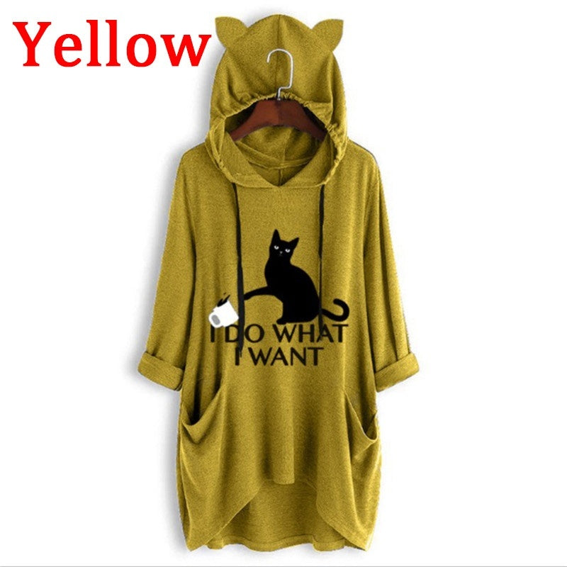Trending Autumn New Women Fashion Long Sleeve Cute Printed Hooded Sweatshirt Casual Loose Pullovers for Women Plus Size S-5XL
