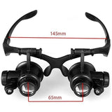 8 Lens Magnifier Magnifying Eye Glass Loupe Jeweler Watch Repair with LED Light