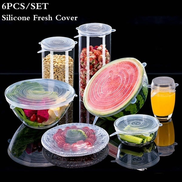 6 Pcs/Set Silicone Cover Fresh Keeping Stretch Lids Caps for Food Pot Dish Kitchen Accessories