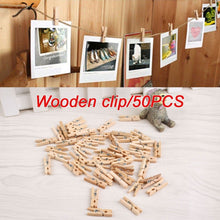 Load image into Gallery viewer, 200/150/100/50 pcs Mini Natural Wooden Clothes Photo Paper Peg Clothespin Craft Clips