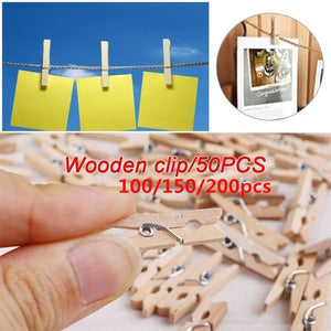 200/150/100/50 pcs Mini Natural Wooden Clothes Photo Paper Peg Clothespin Craft Clips