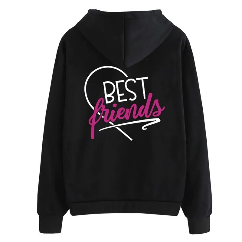 New Fashion Bff Best Friends Hoodie Casual Long Sleeve Letter Printing Hooded Sweatshirt Bff Gifts