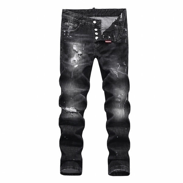 New D2 Hole Jeans Low Waist Jeans Men Jean Pants Beggars Pants  jeans Men Straight
