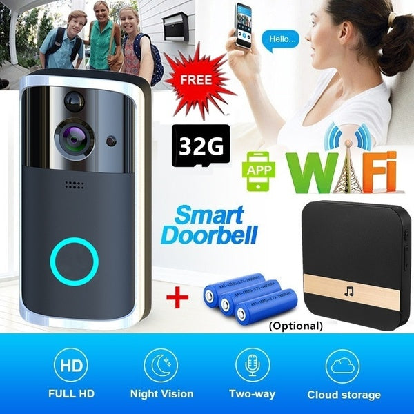2020 NEW 1080P WiFi Smart Wireless Security DoorBell HD Visual Intercom Recording Video Doorphone with 3PCS 18650 Batteries + Chime(Optional) + Free gift 32GB Micro SD Card APP Control