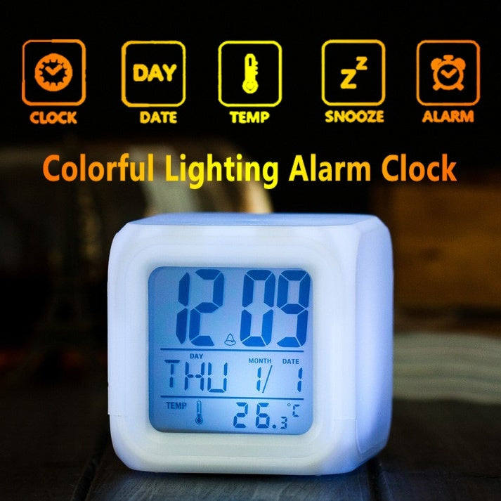 Home Bedroom Glowing Digital LED Alarm Clock Mini Desk Table Cube Clock LCD Snooze Clock with Temperature Display for Kids Children