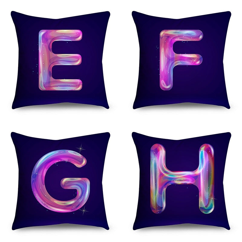 Alphabet Pillowcases 45x45cm Pillow Covers Soft Microfiber Cushion Cover Sofa Home Decor (HD Double-Sided Printing