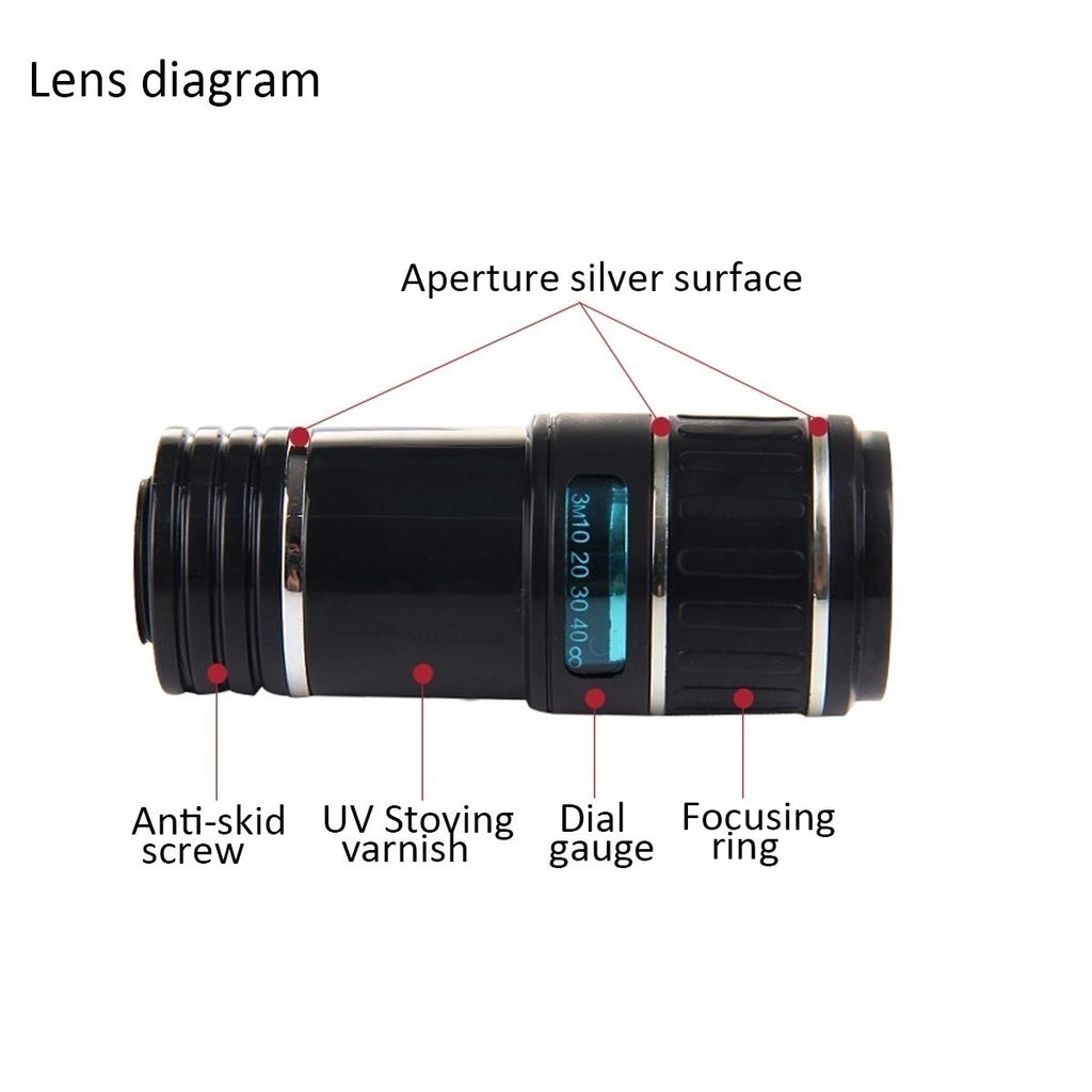 INSMA Outdoor Travel Universal 12X Zoom Optical Phone Telescope Camera Lens For Mobile Cellphone Student Gift