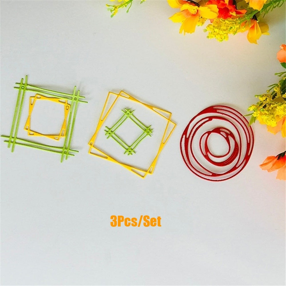 3PCS Circle Square Metal Cutting Dies for Scrapbooking DIY Album Embossing Folder Paper Card Maker Template Decor Stencils Crafts Die