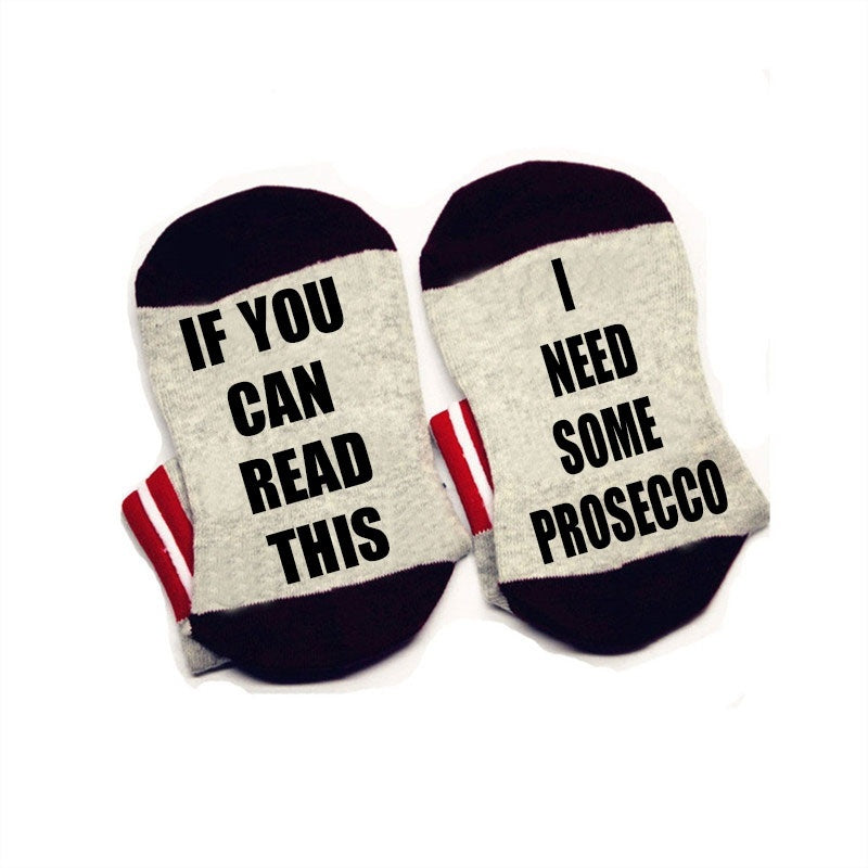 If you can read this Socks I need some Prosecco Socks cotton comfortable Men Women ankle Socks with cute sayings