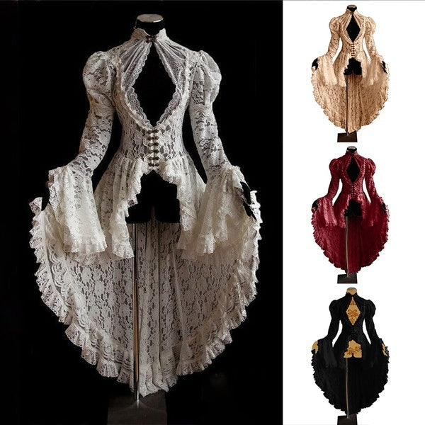 Medieval Style Renaissance Princess Dress Party Wear Luxury Irregular Dress 18th Century Gothic Style Solid Color High Collar Dress  Halloween Retro Vintage Evening Dress Prom Dresses