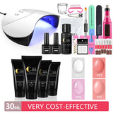 36W Nail Lamp 4pcs 30ml Polygel Nail Drill Set Quick Nail Extension Builder Gel Nail Polish Nail Art Set